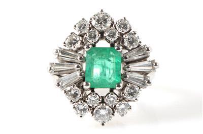 Brillant Diamant Smaragd Damenring