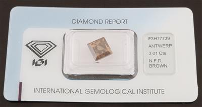 Natural Fancy Deep Brown Square mixed cut Diamant 3,01 ct - Diamonds Only