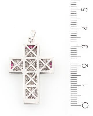 Zartes dekoratives Kreuz aus 925er Sterlingsilber Rubine Diamant