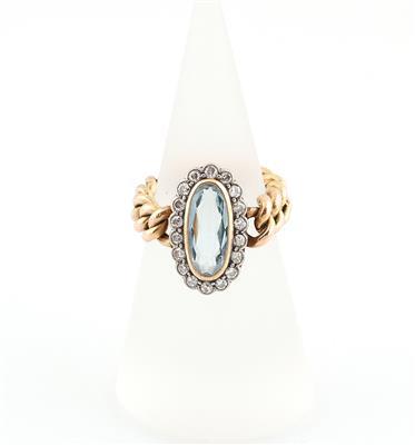Diamant Aquamarin Kettenring