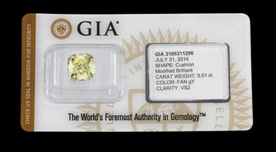 Fancy Greenisch Yellow Natural Color Diamant 5,01 ct - Juwelen