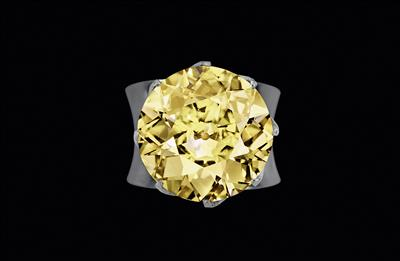 A fancy yellow natural colour brilliant solitaire ring 16.98 ct - Klenoty