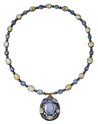 A Buccellati necklace with untreated sapphires, total weight c. 100 ct - Klenoty