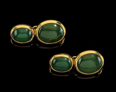 A pair of nephrite cufflinks - Klenoty