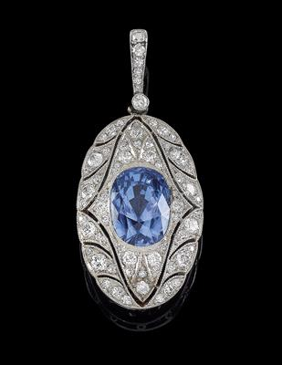 A diamond pendant with untreated sapphire c. 5.80 ct - Juwelen