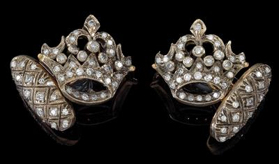 A pair of diamond cufflinks 'crowns', total weight c. 1.10 ct - Gioielli