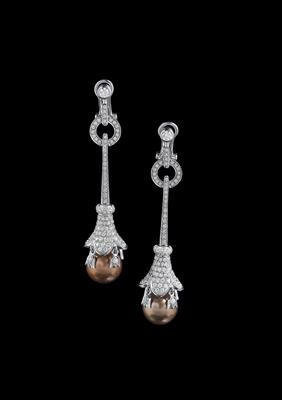 A pair of brilliant and South Sea cultured pearl pendant ear clips - Jewellery