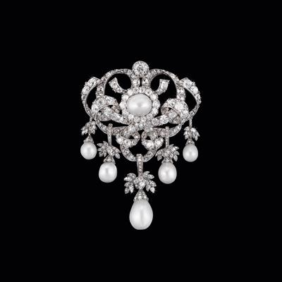 House of Habsburg Oriental pearl and diamond corsage brooch - Jewellery