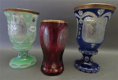 3 verschiedene Becher in der Art des Biedermeier, 20. Jhdt. - Antiques, art and jewellery