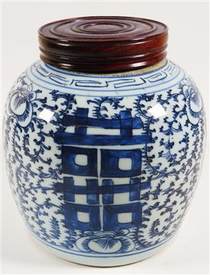 Blau-weißer Ingwertopf und Holzdeckel, China